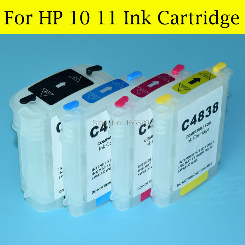 4 Color/Set Empty Refill Ink Cartridge For HP 10 11 With ARC Chip For HP Officejet 9110 9120 9130 K850 CP1700 Printer(China (Mainland))