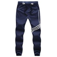 Plus size M-5XL 2015 New Style Men Full-length Slim Harem Pants Mid-Waist Stripe Sports Cotton Joggers Mens Trousers LY062