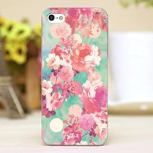 Beautiful Pink flowers Design Customized transparent case cover cell mobile phone cases for Apple iphone 6 6plus hard shell