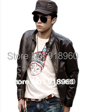 new fashion PU leather jacket men's motorcycle coat/good quality Korean style overcoat male outwear/big size L~XXL/mOL(China (Mainland))