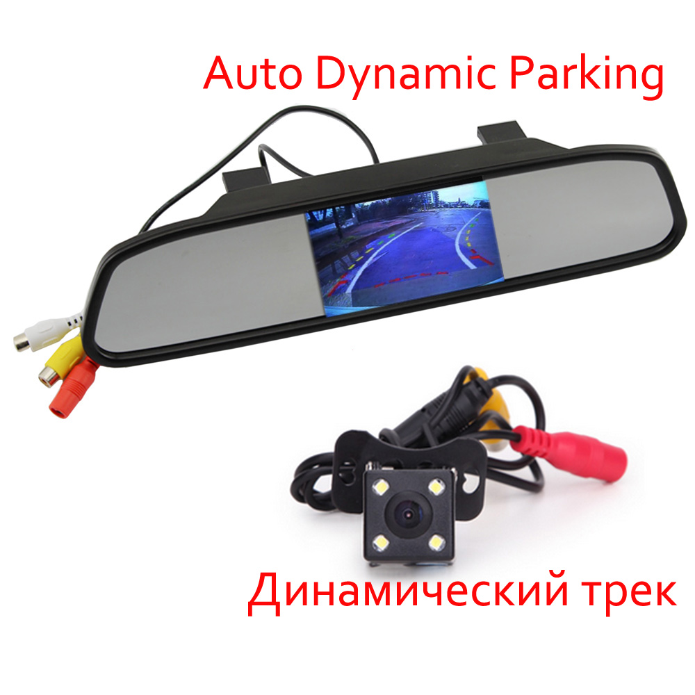 Parking Monitor HD Video Auto , LED Night Vision Reversing CCD Car Rear View Camera With 4.3 inch Car Rearview Mirror Monitor(China (Mainland))