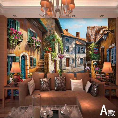european town mural wallpaper landscape full wall murals
