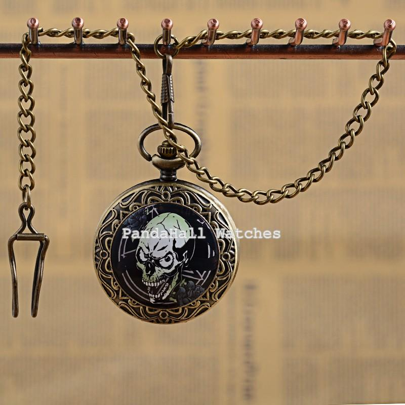 Retro Antique Bronze Alloy Flat Round Skull Pattern Pendant Pocket Watches, Quartz Watch, with Iron Chain, Black, 13.7; Watch<br><br>Aliexpress