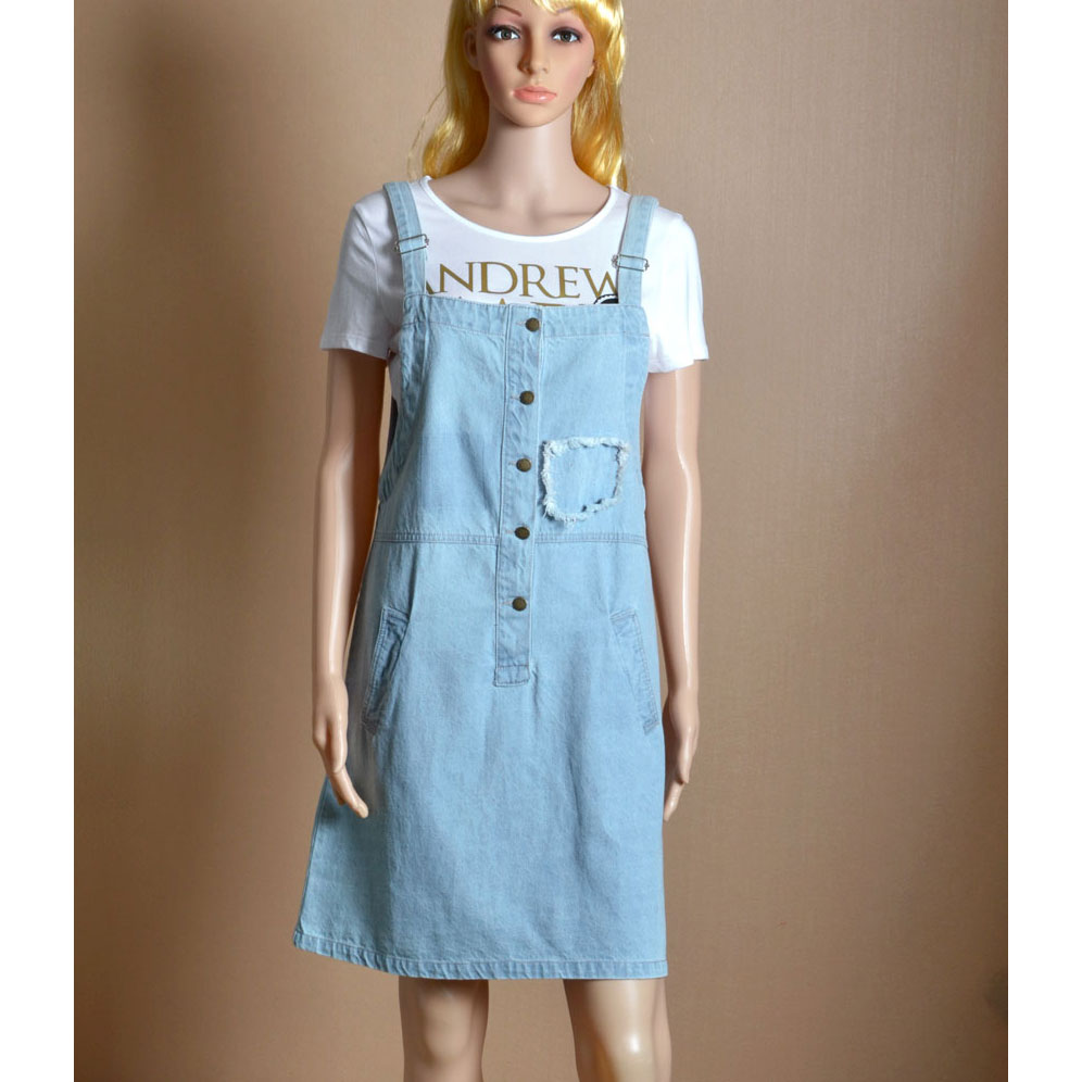 CQ769 Denim Cotton Frazzle Pocket Preppy Style Street Strap Dress Fashion 2016 Easy To Match Casual Knee Length Dresses Woman(China (Mainland))