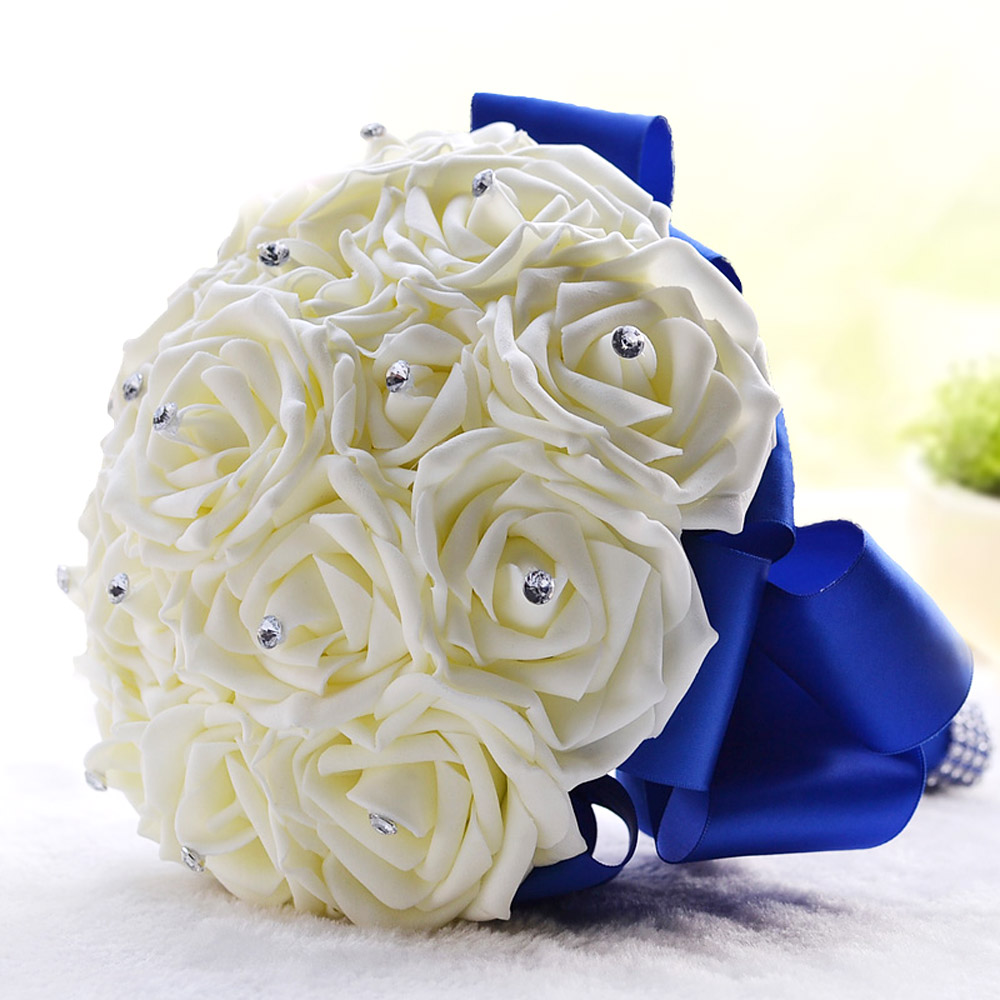 Wedding Decoration Supplies Ivory Rose Luxury Crystal Salable Product for Bride Bouquet with Artificial Rhinestone(China (Mainland))