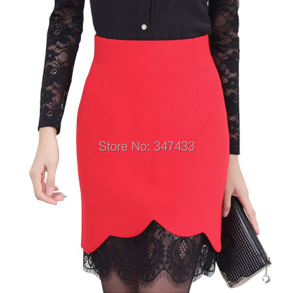 Lace skirts women pencil skirt formal plus size saias femininas renda work wear faldas 2014 black red white jupe ladies WL003(China (Mainland))