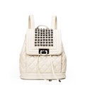 Edgy Rivets Diamond Lattice Backpack Women Designer Solid Color Korean Style Bag Drawstring Flap Preppy Style