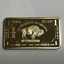 1 шт. Buffalo крючок 1 унц. с позолотой желтый камень парк Buff животного слитка знак 50 мм x 28 мм коллекционные баров(China)