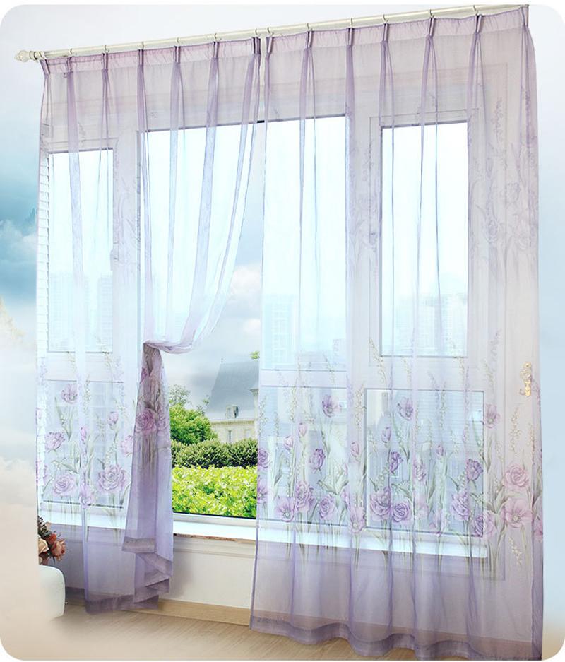 buy 1 panel modern sheer curtains window decoration solid. Black Bedroom Furniture Sets. Home Design Ideas