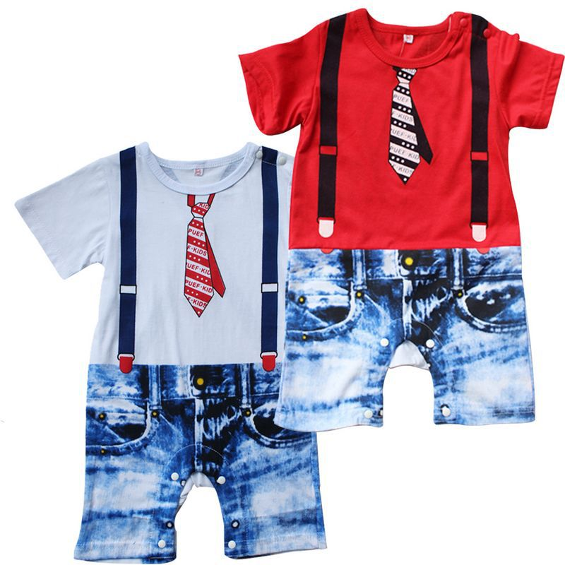 Infant Clothes Baby Romper Gentleman Style Newborn Baby Boys Short Sleeve Overalls Rompers Onesie(China (Mainland))