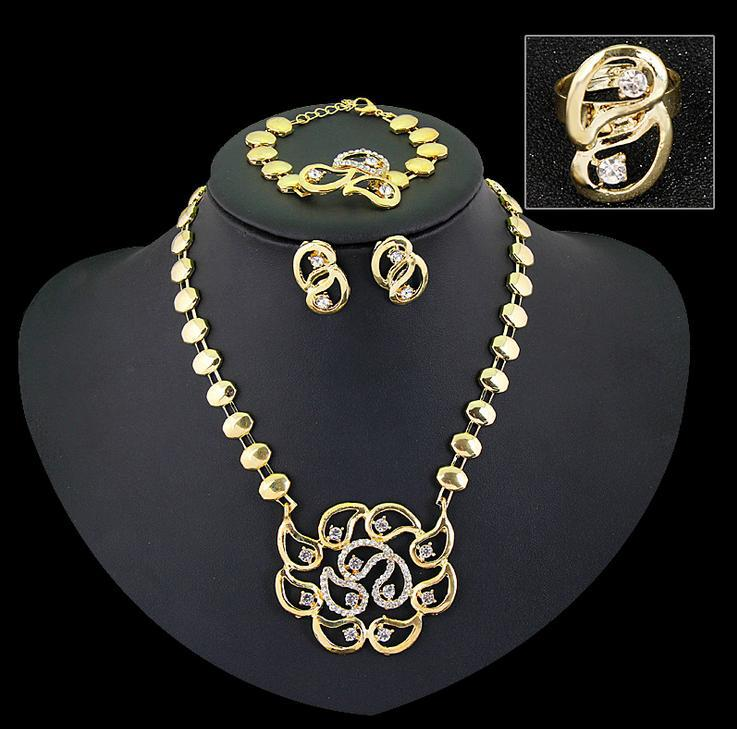 African women crystal wedding announcement the bride of 18 k gold plated necklace set fashion necklace(China (Mainland))