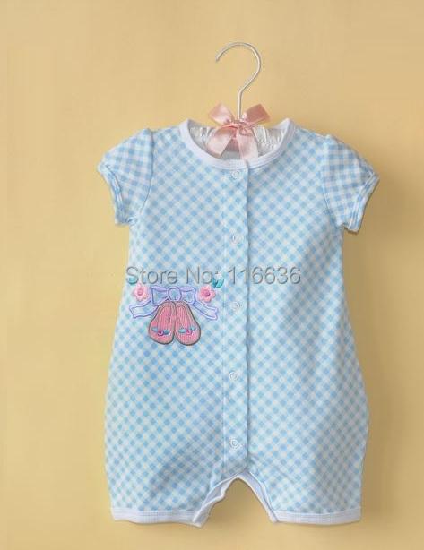 Fashion Plaid shose Girls Baby summer baby romper shower gift dropshipping(China (Mainland))