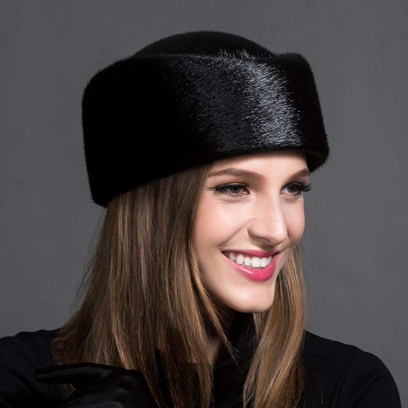 The Top 2016 Unisex High-end Custom Fashion Special Offer Solid Adult Female Mink Fur Hat Winter Natural Airline Stewardess(China (Mainland))