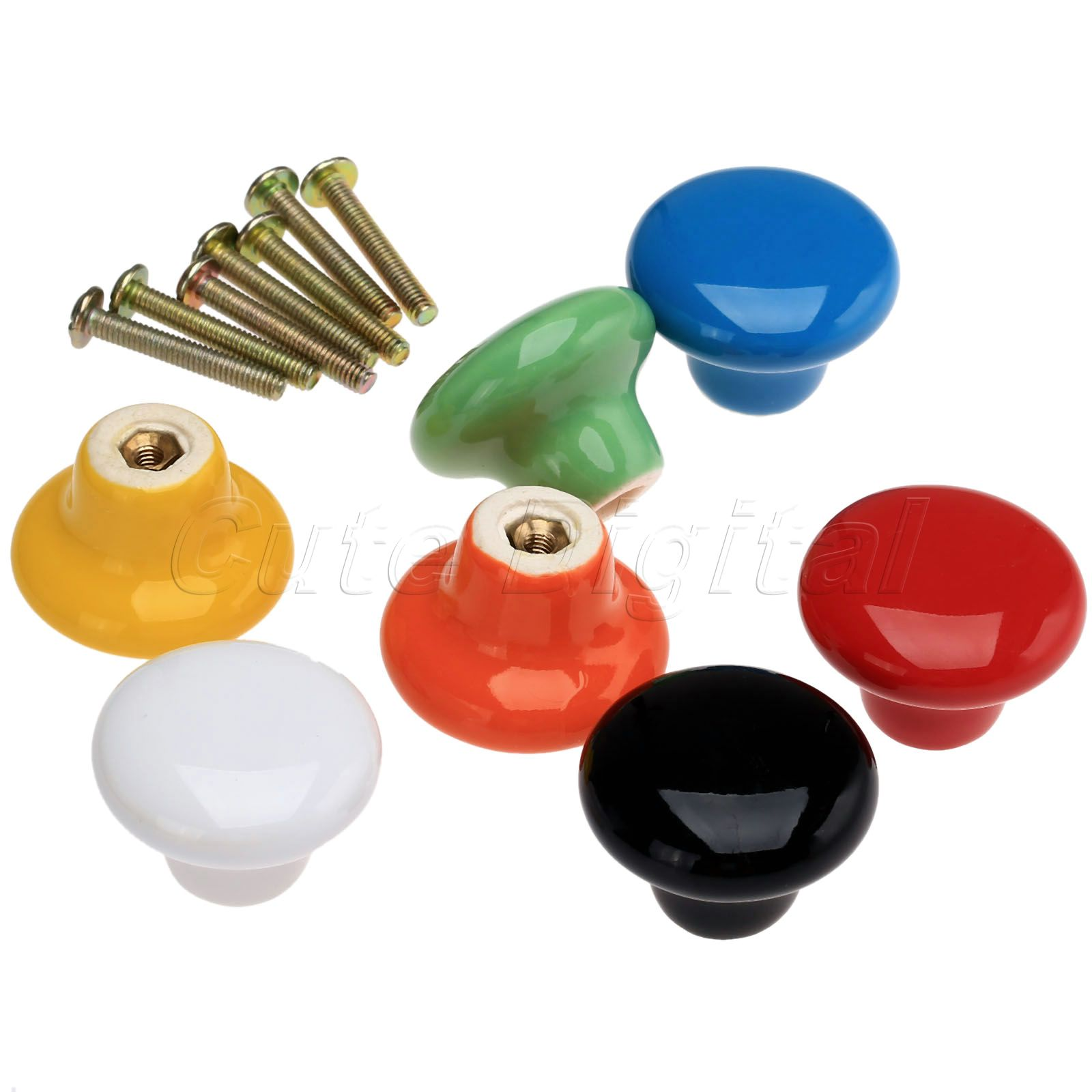 Candy color round furniture knobs ceramic drawer knob for Furniture knobs