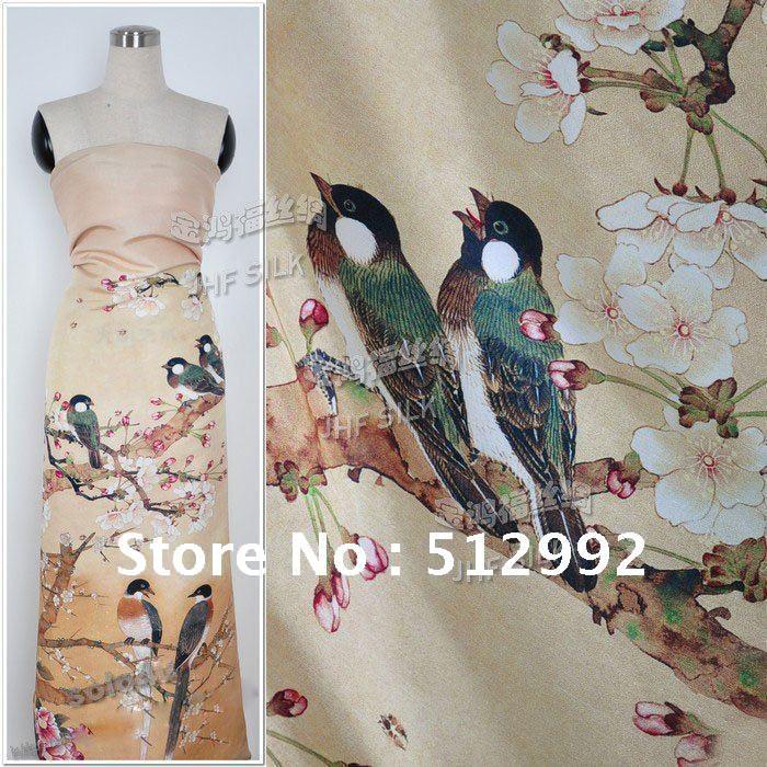 100% Printed Dupion Silk Satin positioning fabrics thickness 23m/m(China (Mainland))