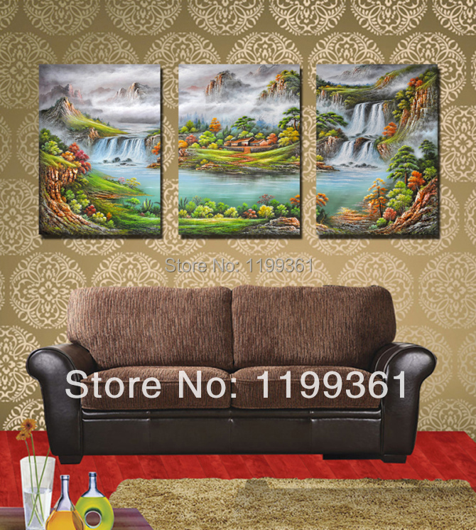 3 Piece Free Shipping Modern Wall Painting Chinese Mountain River Landscape Home Decorative Art Picture Paint on Canvas Prints(China (Mainland))