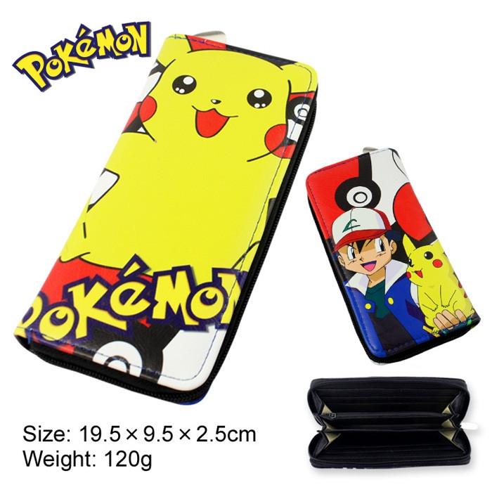 Pokemon Cartoon Wallets Pouch Pikachu Printing Anime Cosplay Purse Women Men PU Wallet Free Shipping