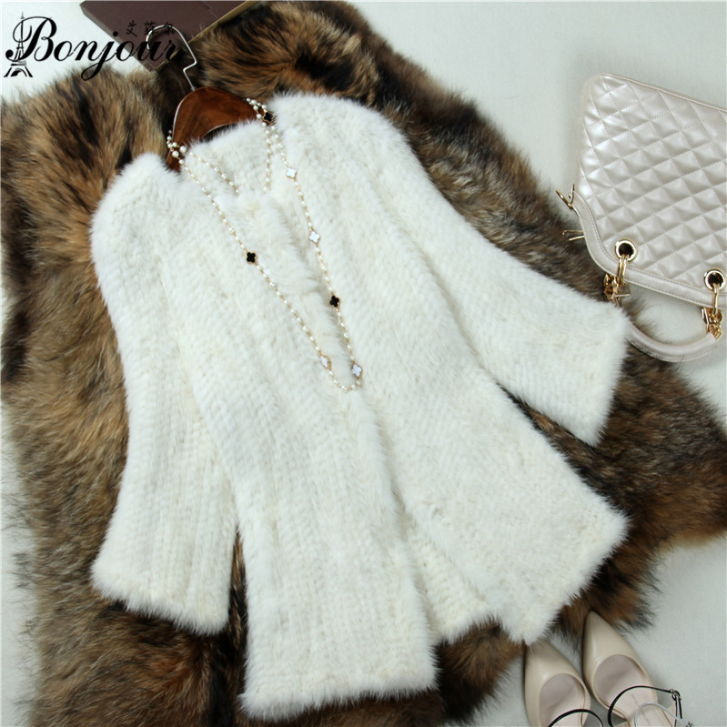 Real Fur Coat Mink Knitted Long Style White Color fur Coat for Women Plus size  BF-C0336������ � ����������<br><br>