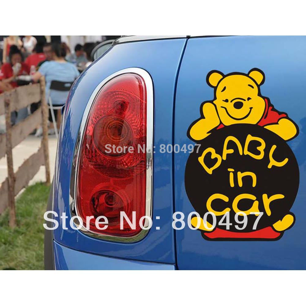 Design a car sticker online - Newest Design Funny Car Sticker Baby In Car Winnie For Tesla Ford Chevrolet Volkswagen Honda Hyundai