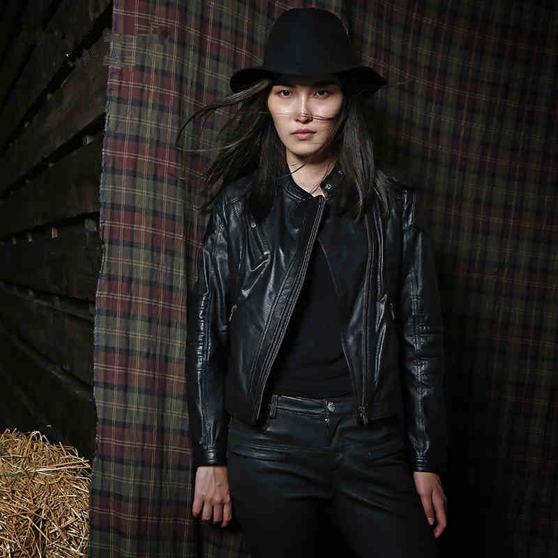 Genuine Leather  Calfskin  Womens leather jacket  Motorcycle clothing  Slim  Short paragraph  Breathable DXY27Одежда и ак�е��уары<br><br><br>Aliexpress