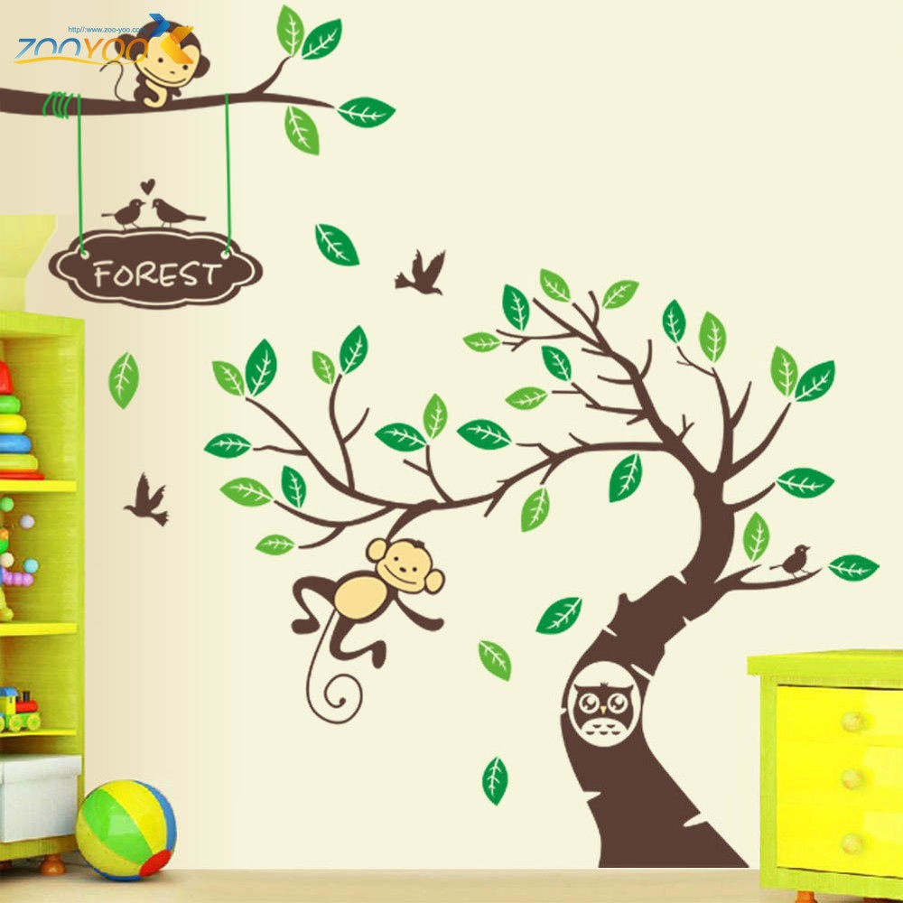 XL 305*145 cm Monkey Tree Art Wall Stickers Kids Rooms Nursery Decal Removable Decor Decals Home Mural - Mom&Kids Zone store