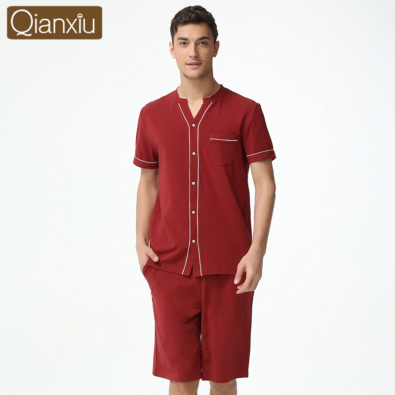 Qianxiu Summer Casual Pajama Sets For Men Cardigan Lounge Wear Kniteed Modal Cotton Button sleepwear suit(China (Mainland))