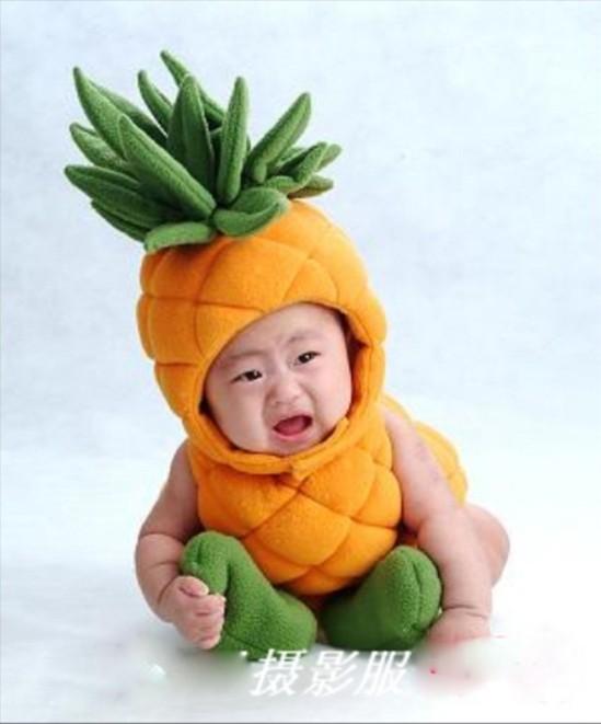 Baby pineapple costume infant toddler photography props boys girls unisex plushoutfits 3pcs fruit clothing hat+shoes+bodysuit(China (Mainland))