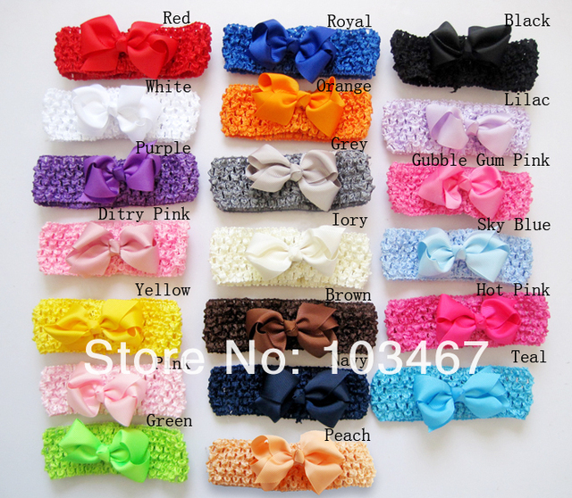 "20pcs/lot 20colors 3.3""-3.5"" baby ribbon bows on crochet headbands hairbands,mix colors"