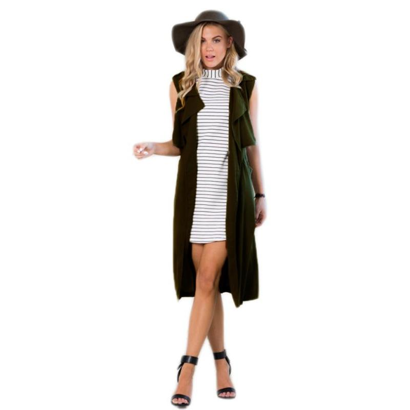 2016 Fashion Women elegant lady Long Blazer Suit Vest Jacket Coat pocket coat sleeveless vests jacket outwear casual WaistCoat(China (Mainland))