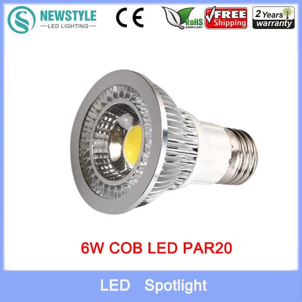 6W COB LED PAR20 Light Bulbs 3000K 4000K 6000K White E27 Led Lamps Replace 50W Halogen(China (Mainland))