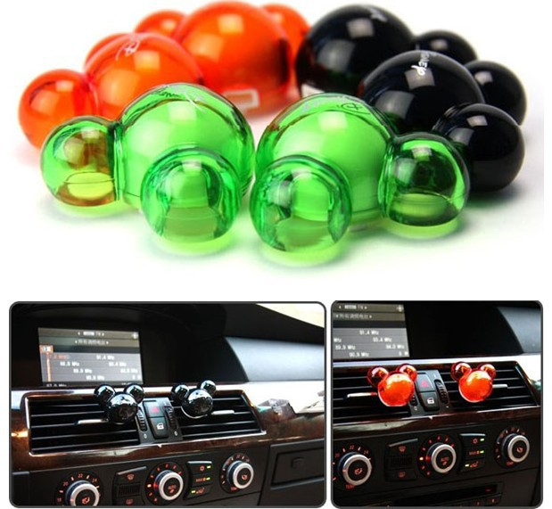 Candy Color 2 x Mickey Mouse Shape Fragrance car Vent Air Freshener outlet Perfume Diffuser Auto accessories P5(China (Mainland))