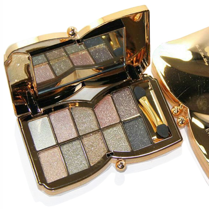 Professional 10 colors Diamond Bright Colorful Makeup Eye Shadow Super Make Up Set Glitter Eyeshadow Palette With Brush&Mirror(China (Mainland))