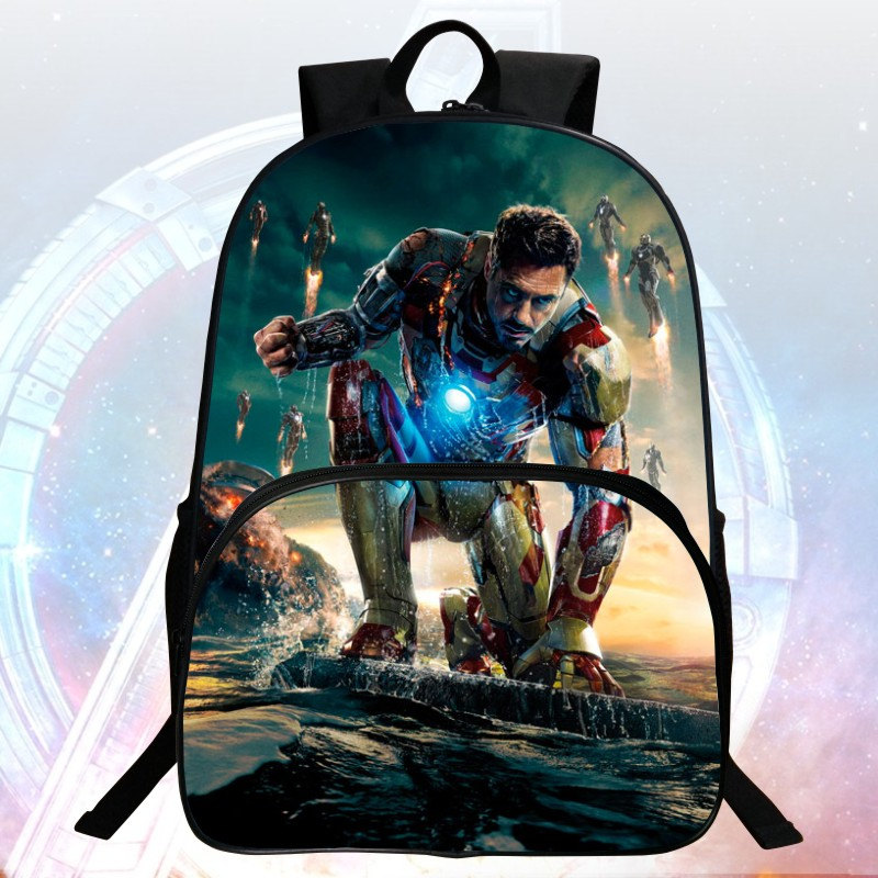 Popular New Style 16 Inch Prints Iron Man Kids School Backpacks Children Backpack Avengers Boys School Bags Students Mochila Bag