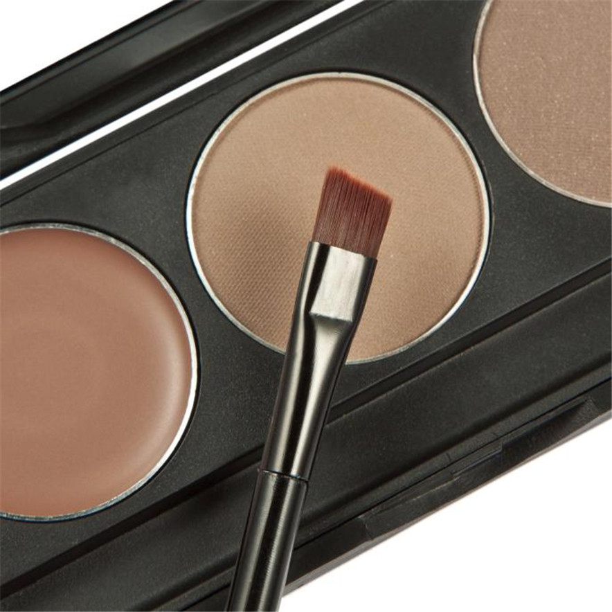 MELOSION best seller Makeup 3 Colors Eyebrow Powder Concealer Palette With Mirror Eyebrow Brush #30(China (Mainland))