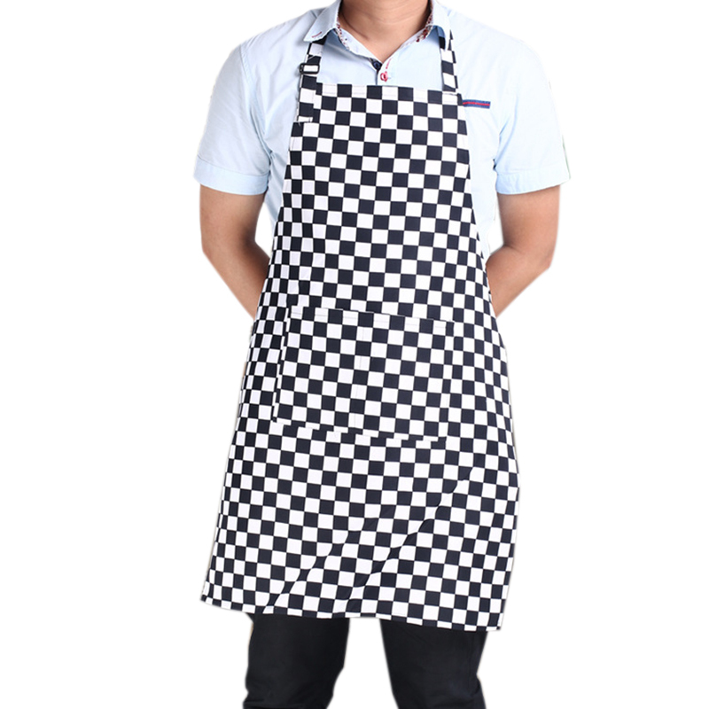 Creative Kitchen Apron for Women and Men Useful Cooking Apron Black and White Grid Hot Sale Adjustable Black Stripe PC874014(China (Mainland))