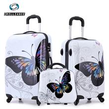 20 » 24 » удивительные горячей продаж женщины бабочка ABS тележка чемодан багажа / чемодан на колесах / винтажный дизайн кайт-интернатов тележки мешки