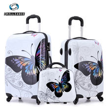 "20"" 24""amazing hot sales women butterfly ABS trolley suitcase luggage/ suitcase on wheels/ Vintage design boarding trolley bags(China (Mainland))"