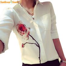 Newly Design Women's White Full Sleeve Rose Flower Printed Blouse Turn Down Collar Chiffon Shirts 160126(China (Mainland))