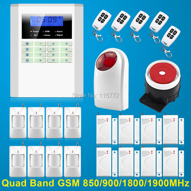 Free Shipping!New Upgraded Quad Bands Wireless GSM PSTN Home PIR Security Autodialling Alarm Burglar System<br><br>Aliexpress