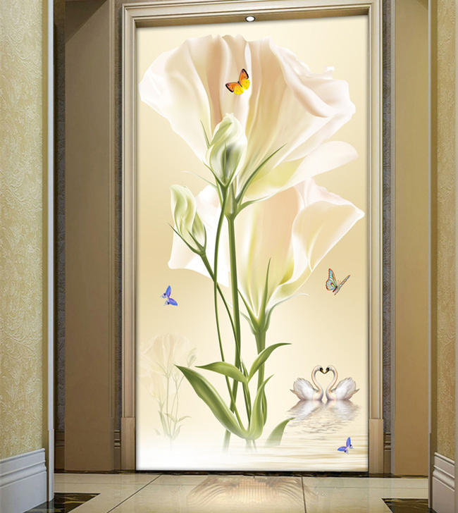 Tulip entrance hallway 3D stereoscopic TV backdrop living room bedroom self-adhesive wallpaper wallpaper mural wall seamless