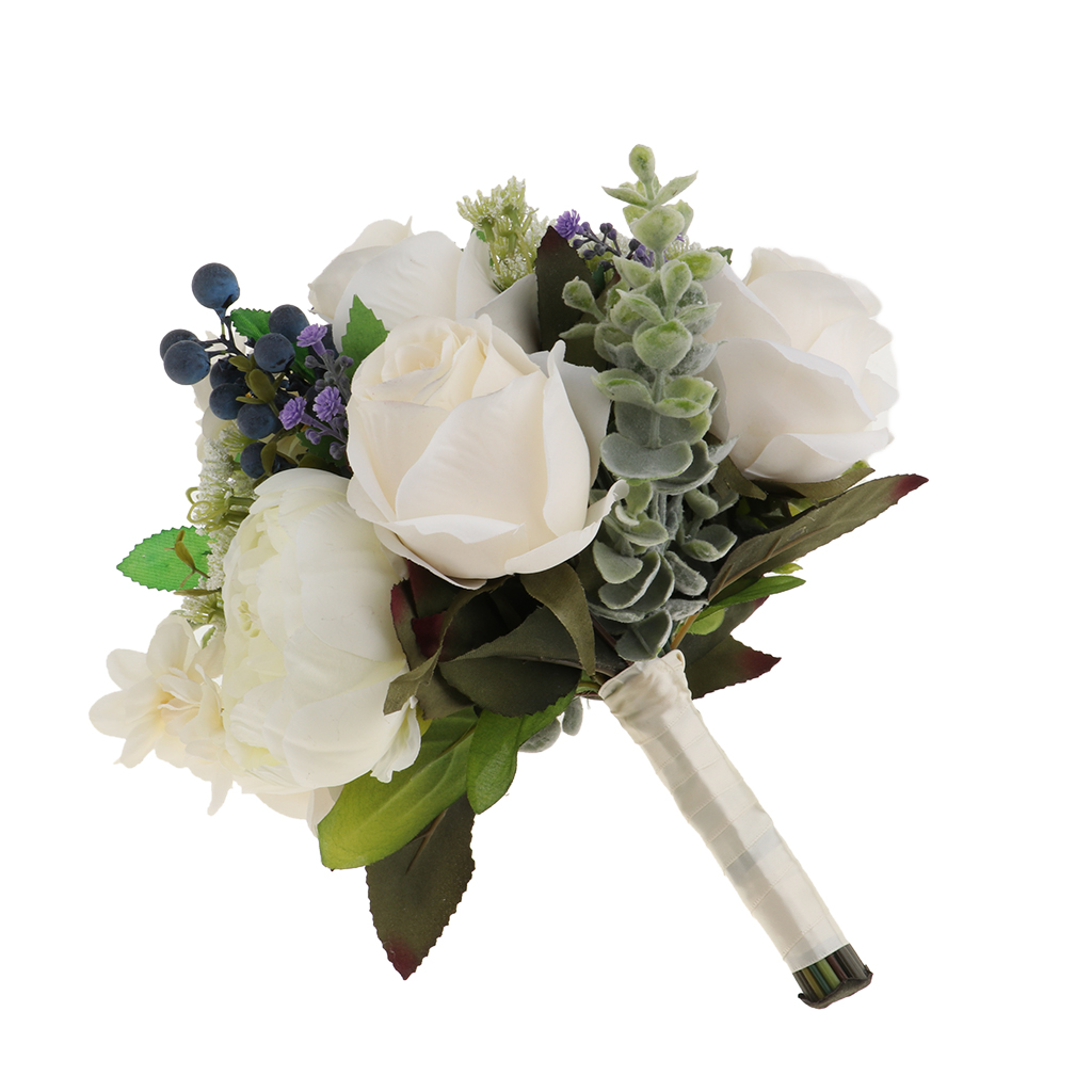 Gorgeous Wedding Silk White Bouquet Rose Blueberry Wedding Bridal Bouquet Hand Holding Flowers Or Decorate Restaurant Home