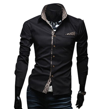 Men Shirt Dress Leopard 2015 Brand summer style Men's Camisas Hombre Ropa Chemise Clothing Shirts Mens Slim Casual Tops RD473