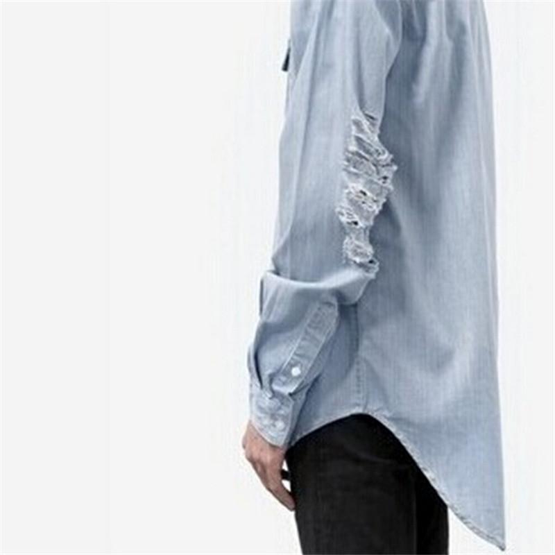 2016 New Man Distressed Denim Shirts Mens Hip Hop Blue Cowboy Tshirt Long Sleeve Hip Hop Streetwear Swag Tyga Top Tee Clothes(China (Mainland))