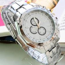 Mínima. 16 Hot Sale Luxury moda hombres de acero inoxidable de cuarzo analógico mano deportivo reloj de pulsera relojes 01O2 2VQ2