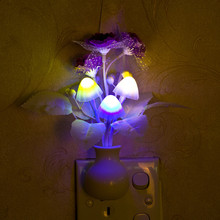 2015 Lovely Colorful LED Mushroom Lilac Night Light Lamp Home Illumination #74813(China (Mainland))