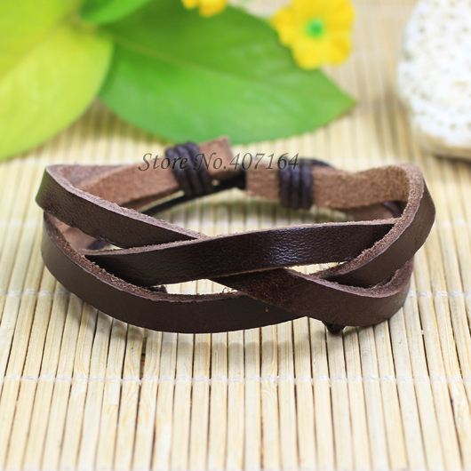 SF15- fashionable brown wrap multilayer genuine leather bracelet Hemp rope unisex - SunFlower Trade Co.,Ltd store