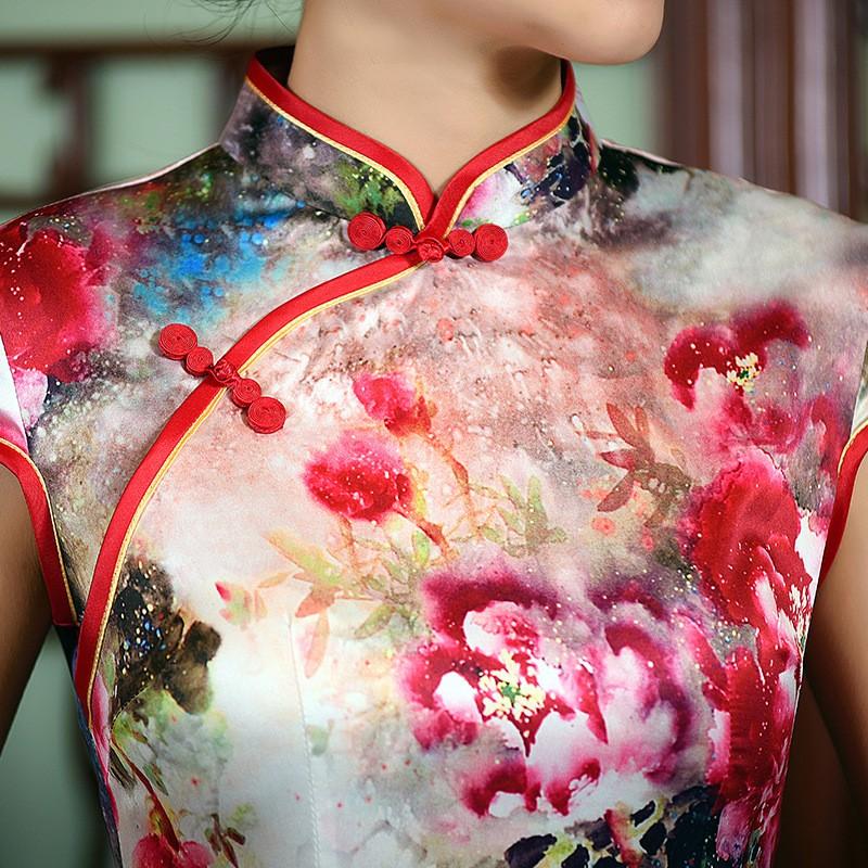 มาใหม่แฟชั่นแผนจีนชุดผู้หญิงผ้าไหมCheongsam QipaoมินิVestidoเดเฟสต้าขนาดSml XL XXL Z20160319 ถูก