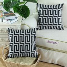 Euphoria/CaliTime Geo Black Gray Print Cushion Cover