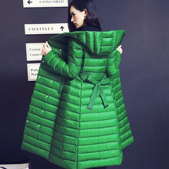 Пуховик гусиный пух длинная, зима женщины белый ультра пальто женское утолщение приталенный ...