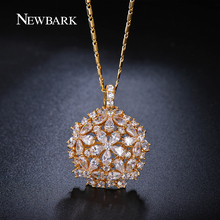 ZOEVON Flower Design Water Drop Cubic Zirconia Diamond Paved Necklace 18K Gold Plated Fashion Jewelry Necklace For Women
